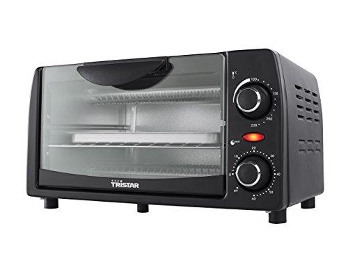 Tristar OV-1431 Kompakter Ofen Inhalt 9 L mit Krümelschublade/24 cm/Auch zum Campen geeignet/schwarz