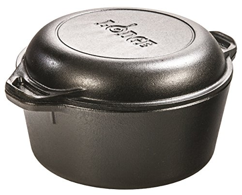 Lodge 4,7 Liter/5 Quart Hänge Gusseisen Double Dutch Oven mit Schlaufe Griffe-Parent, schwarz, 5 Quart