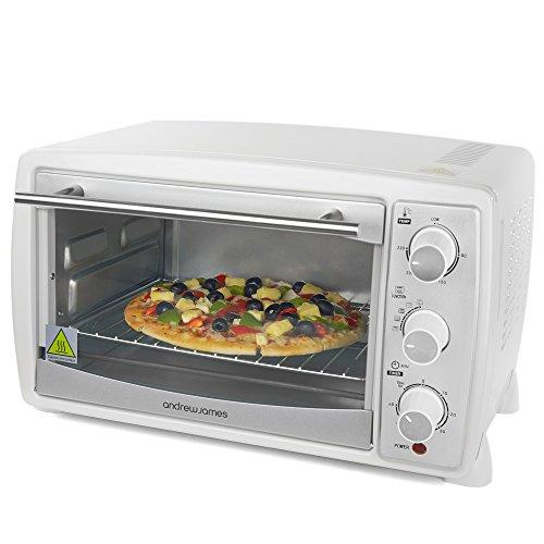 Andrew James – 20 Liter Mini Ofen und Grill in Weiß – Inklusive 5 Kochfunktionen – 1500 Watt – 2 Jahre Garantie