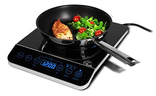 MEDION MD 16343 Induktionskochplatte mit 2000W Leistung, Temperaturbereich: 60-240°C, Sensor-Touch Bedienfeld, Topferkennung, Überhitzungsschutz, schwarz