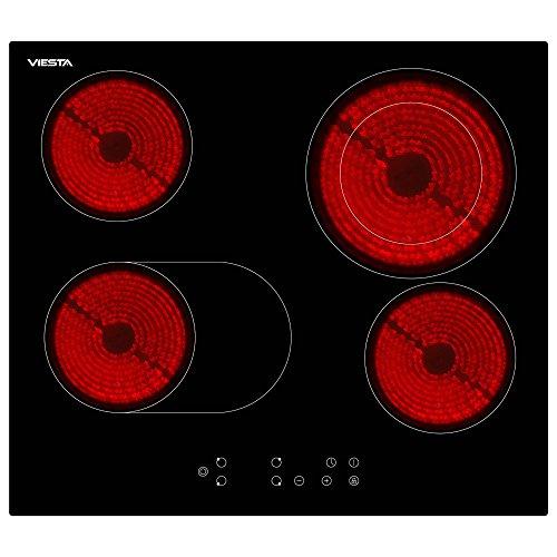 Glaskeramikfeld mit Sensor-Touch-Display – Viesta C4Z hochwertiges Glaskeramikkochfeld mit Dual-Kochzone und Bräterzone – Kochfeld Autark