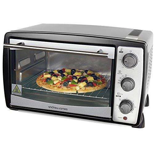 Andrew James – 20 Liter Mini Ofen und Grill in Schwarz – Inklusive 5 Kochfunktionen – 1500 Watt – 2 Jahre Garantie