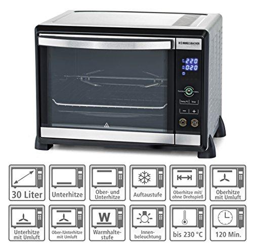 ROMMELSBACHER BGE 1580/E Minibackofen mit Touch Control Sensoren / 30 Liter / 8 Heizarten mit Umluft / Drehspieß / Doppelverglasung / für Slow Cooking / 1580 W / Edelstahl
