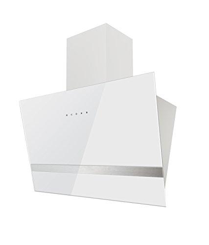 respekta Design kopffreie Schräghaube Dunstabzugshaube Abzugshaube Wandhaube Glas 60 cm weiss Touch Control / 3 Leistungstufen / Abluft und Umluft / LED …