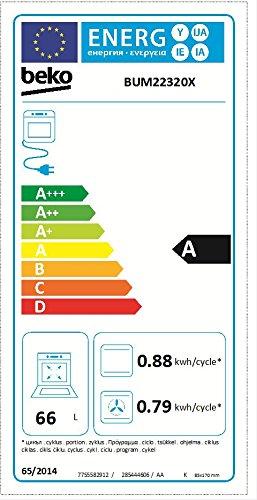 Beko BUM22320X Herd-Kochfeld-Kombination / A / 66 L / Glaskeramik-Kochfeld / edelstahl / Simple Steam Reinigungsfunktion / Pflegeleichte Emaillierung