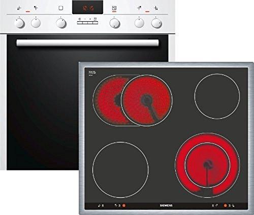 Siemens EQ241WK02 Einbau-Herd-Kochfeld-Kombination / A / Kochfeld: Ceran/Glaskeramik / Herdfarbe: weiß / 3D-Heißluft Plus / Automatische Schnellaufheizung / Elektronik-Uhr inkl. Timer