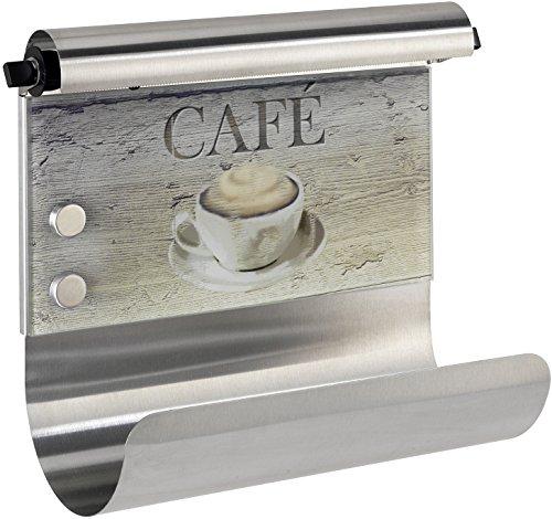 Wenko 53510100 Magnetischer Rollenhalter Café- mit Folienspender, Gehärtetes Glas, 35 x 29 x 14.5 cm, Multicolor