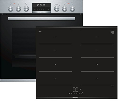 Bosch HND679LS60 Herd-Kochfeld-Kombination Einbau / A / 59,4 cm / Edelstahl / Klapptür / AutoPilot 30 / Pyrolyse / FlexInduction / weißer LCD-Display / ComfortProfil