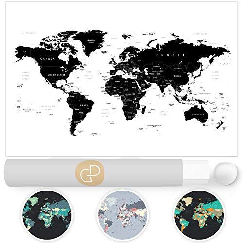 Top 10 Weltkarte SCHWARZ weiß – Lehrmaterial Landkarten